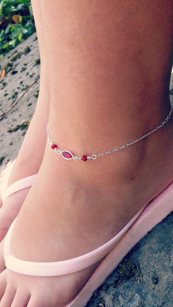 Boho Silver Anklet Beach Ankle Bracelet Swarovski Anklet Ruby Etsy
