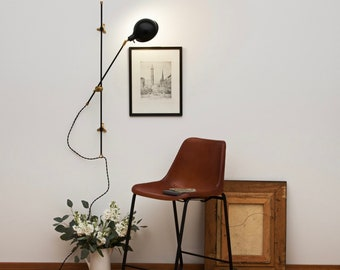 The Black Pole Sconce • Articulating Plug-in Wall Light • Wall Sconce • Mid-Century Modern Sconce
