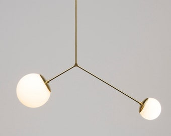 The Balance Chandelier • Mid-Century Modern Chandelier • Ceiling Light •  Asymmetrical Ceiling Light • Available in a Brass or Nickel Finish