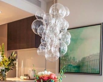 "The Waterfall Bubble Chandelier (20"" tall) • Custom Cord Options • LED Chandelier • Dining Room Chandelier • Bubble Light • Wabi-Sabi"