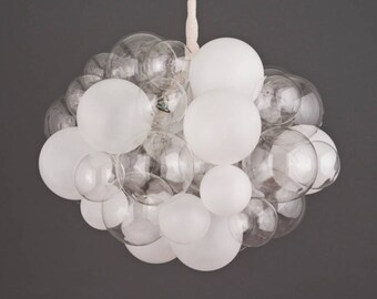 """The Semi-Frosted 45 Bubble Chandelier (28"""" diameter) • Custom Cords Available • Dining Room Chandelier • LED Lighting"""