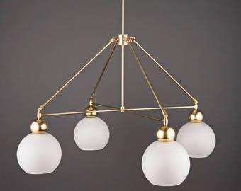 The Quad Globe Chandelier • Industrial Lighting • Ceiling Light • Dining Room Light • Modern Lighting