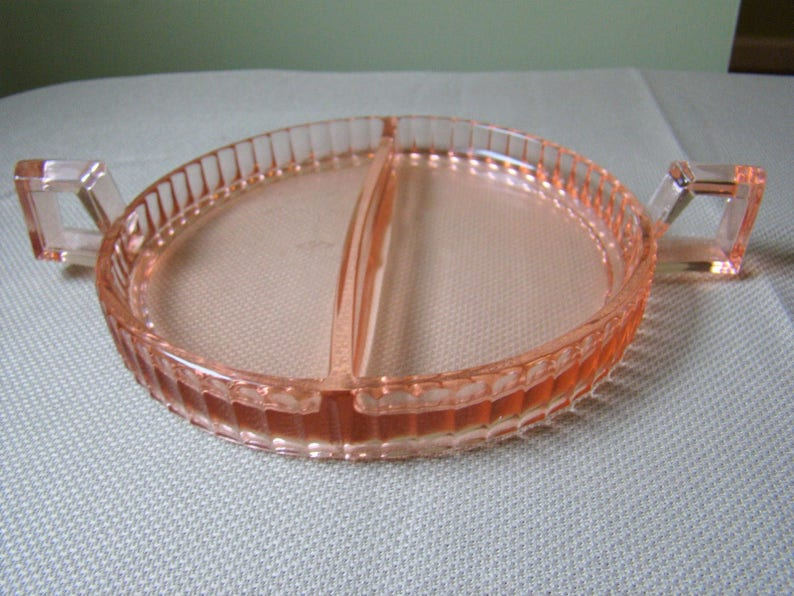 Vintage Pink Heisey Glass Narrow Flute Divided Dish  371447
