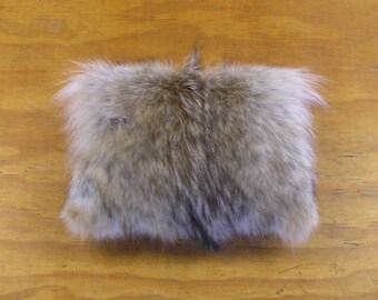 Real Coyote Fur & Black Deer Leather Pillow