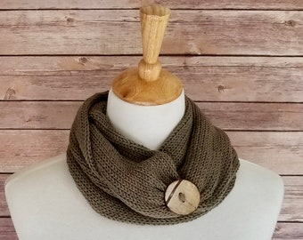 Knit Infinity Scarf, Taupe Olive Green with Button, Holiday Gift Day Gift for Fashionista Mom, Present for Mom in law.  Birthday Aunt