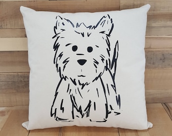 Canvas Westie Pillow, Dog Gift, Dog Lover Gift, Dog Lover, Throw Pillows, Decorative Pillow, Home Decor, Housewarming Gift, Dog Mom Gift