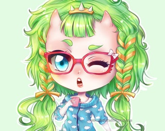Custom Chibi Illustration , Detailed Chibi Portrait , caricature in manga/anime style commission, digital art