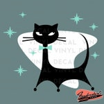 Atomic Kitty Cat Starbursts 3 Color Vintage Inspired Retro Kitsch Vinyl DECAL