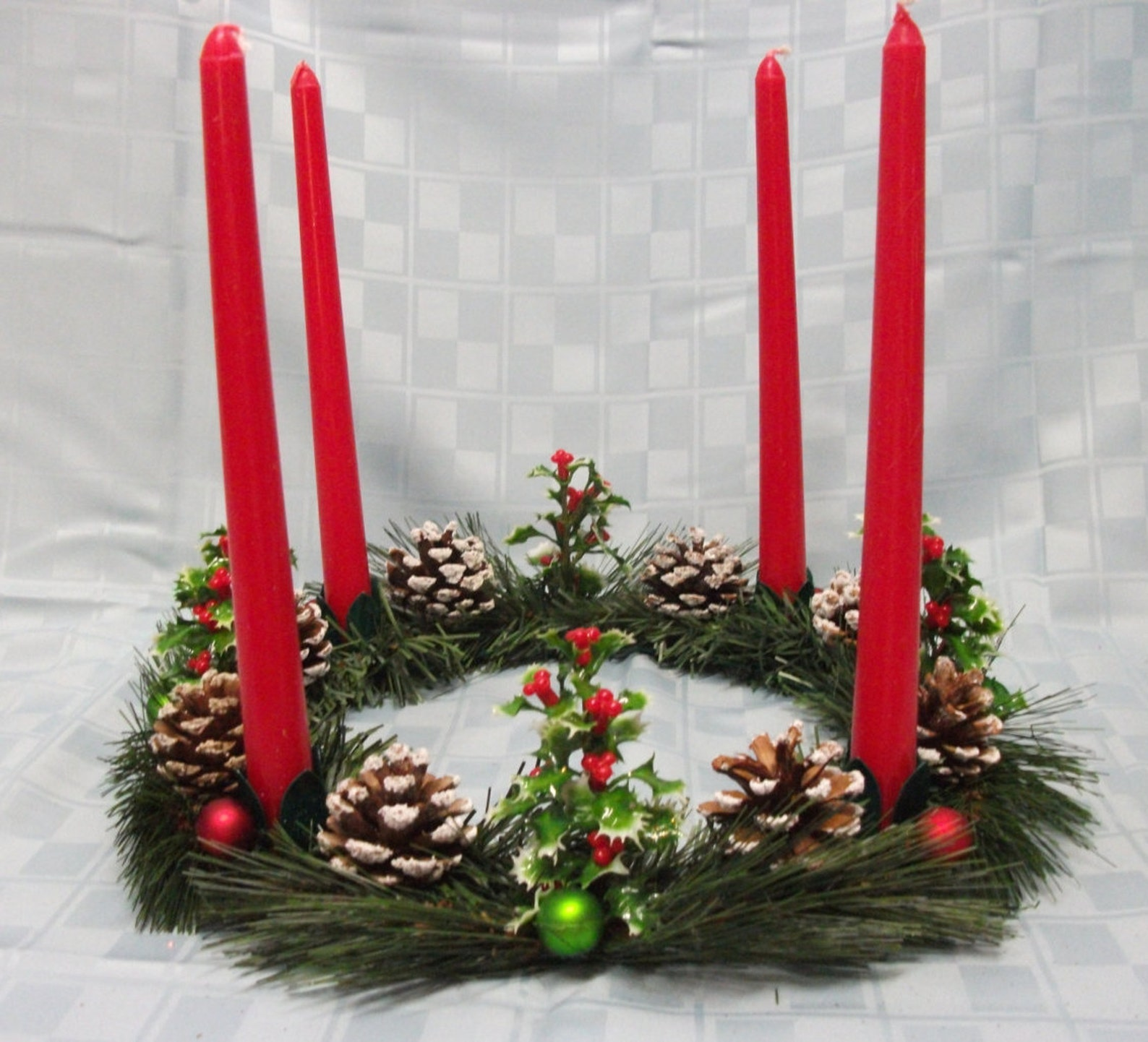 Advent Wreath, Decorated with Holly Branches, Frosted Pine Cones,