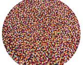 150cm Nepalese Handmade 100% Woolen Multi-Colour Freckle Round Felt Ball Rug Mat