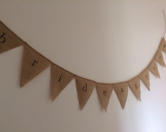 bride & groom bunting on hessian burlap bunting