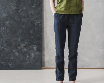 Loose Linen Pants ROME / Washed Women Linen Trousers / Linen Pants with Elastic Band / Tapered Linen Pants with Pockets / Summer Linen Pants