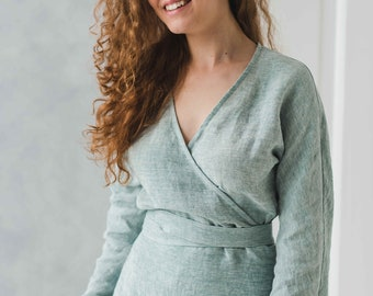 84839d2dda19b4 Linen Blouse, Linen Top Long Sleeves, V Neck Top, Linen Clothing, Washed  Linen Blouse