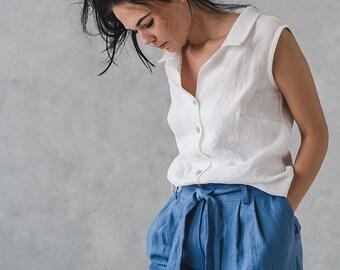1eefbda356f67 Linen Sleeveless Shirt