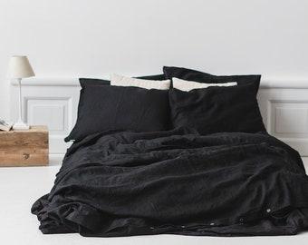 black linen duvet cover Bed linen   Etsy black linen duvet cover