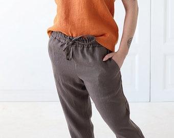 e9fa340dbc2 Linen Summer Pants CORFU Washed Women Linen Trousers Linen