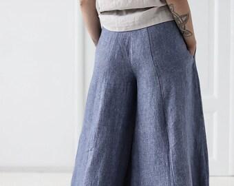 51d279437da4 Linen Culottes, Loose Long Linen Pants, Palazzo Linen Pants, Wide Leg Linen  Pants