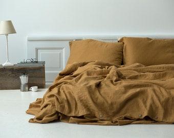 66be570a5f Soft Linen Bedding Set, Washed Bed Linen, Linen Duvet Cover Set, Mustard Linen  Bedding