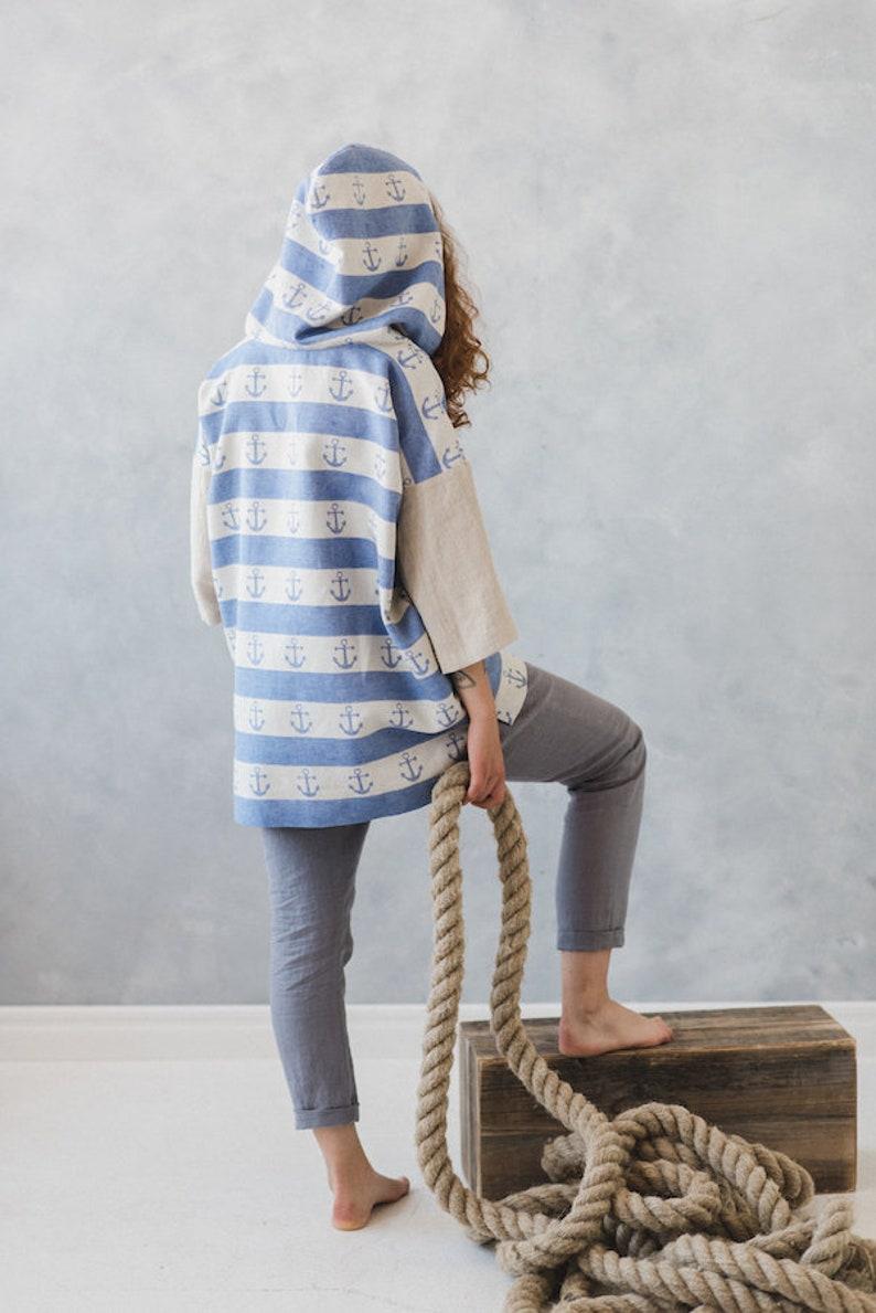0568ed4da735d3 Linen Top Drop Shoulder Linen Blouse Hood Blazer Oversize | Etsy