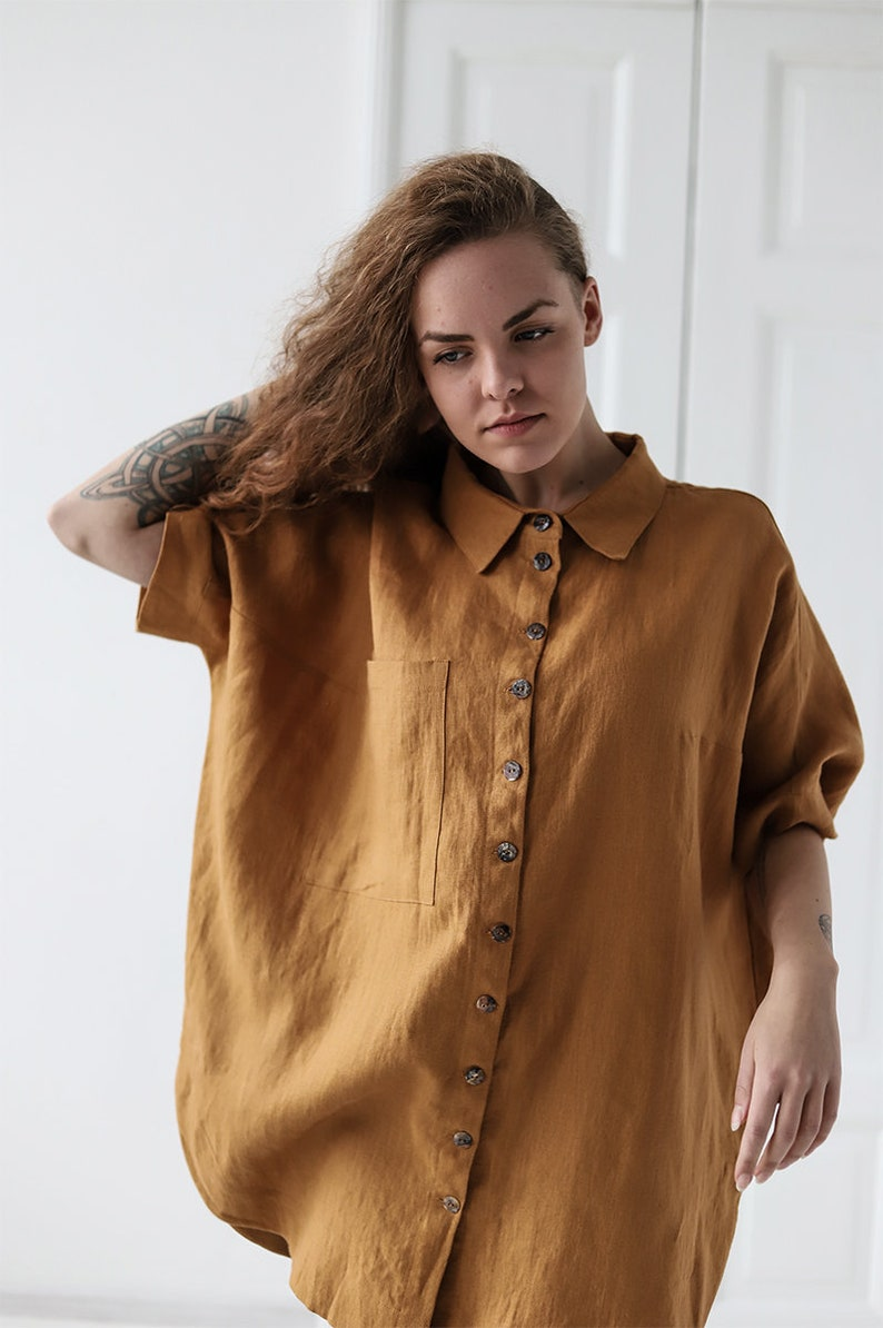 67aac61d Linen Shirt Natural Linen Shirt Drop Shoulder Collar Shirt | Etsy