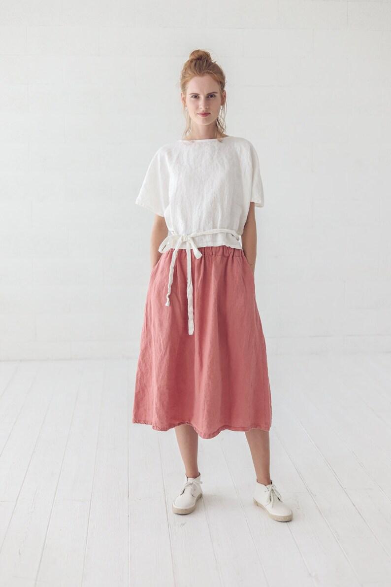 Linen Blouse GODA Long Belt Linen Blouse Natural Linen Wrap Top