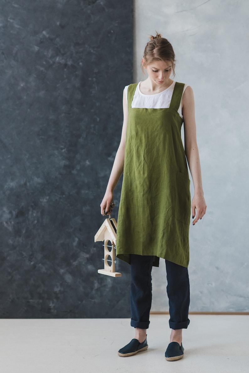 387ed36acdffd Linen Artisan Pinafore Green Moss Japanese Style Apron