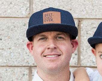 "Best Dad Ever Snapback | Chambray | Flat Bill Matching ""Daddy and Me"" Comfortable Baseball Cap 