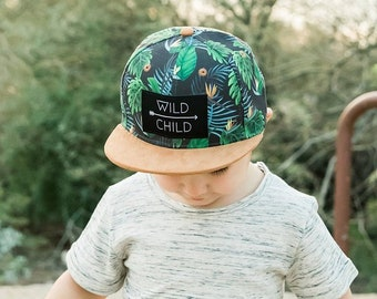 347b949f Kid's Snapback Hat | Tropical Wild Child Snapback Hat | Trucker Hat for  Kids | Flat Bill Baseball Cap | Baby | Infant | Toddler | Youth
