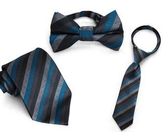 397f858715db Midnight Stripe Ties | Matching Daddy & Me Ties | Zipper Tie | Kids Bow Tie  | Adult Tie | Adult Bow Tie | Standard Tie | Dad Tie
