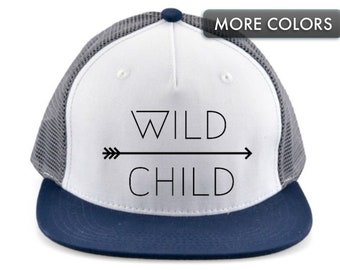 8855234a297262 Kid's Snapback Hat | Wild Child | Trucker Hat for Kids | Flat Bill Baseball  Cap | Baby | Infant | Toddler | Youth