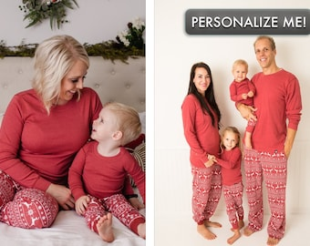Holiday Family Matching Pajamas Red Nordic  d660930c9