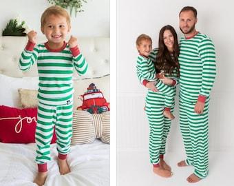 9ddbde0bec275 Holiday Family Matching Pajamas Green & White Stripe | Matching set |  Christmas Jammies | Holiday PJs | Adult | Men | Women | Kids | Baby