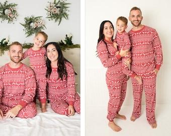 e1ef790767c12 Holiday Family Matching Pajamas Red Nordic | Matching set | Christmas  Jammies | Holiday PJs | Adult | Men | Women | Kids | Baby