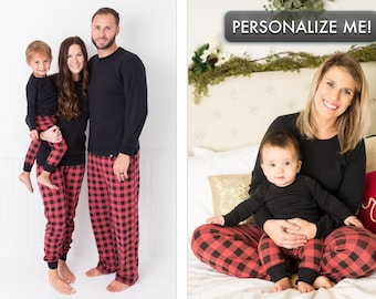 70956c9fa1 Holiday Family Matching Pajamas Red Buffalo Check