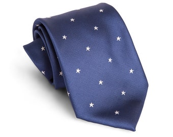 Navy Stars Youth or Adult Neck Tie | Father's Day | Wedding Tie | Christmas Tie | Tie for Dad | Everyday Wear |  Neck Tie | Tie