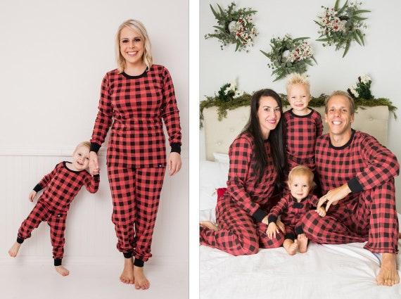 1110cba86ea6 Holiday Family Matching Pajamas Red Buffalo Check Matching