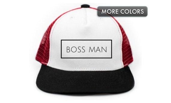 e750d300cfadc Kids Snapback Hat Boss Man Flat Bill Baseball Cap