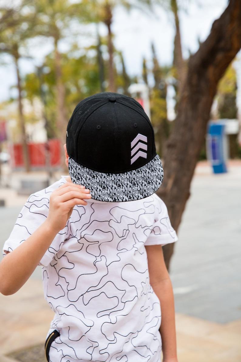 60ef2d86 Kid's Snapback Hat Black Geometric Snapback Trucker | Etsy