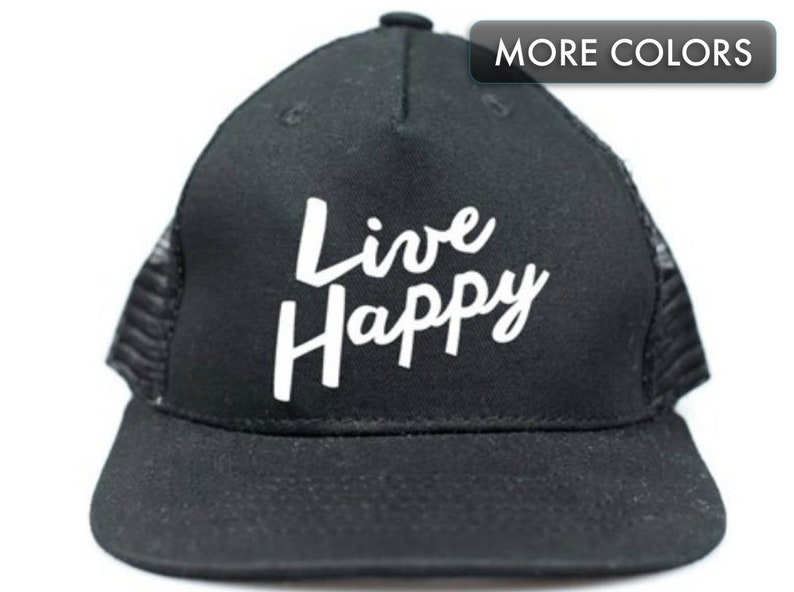 new concept 43175 29410 Kid s Snapback Hat Live Happy Trucker Hat for Kids   Etsy