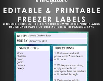 Freezer Bag Labels - Editable Printable Stickers - Monthly Planner Recipe Cards - Budget Planner - Instant Digital Download