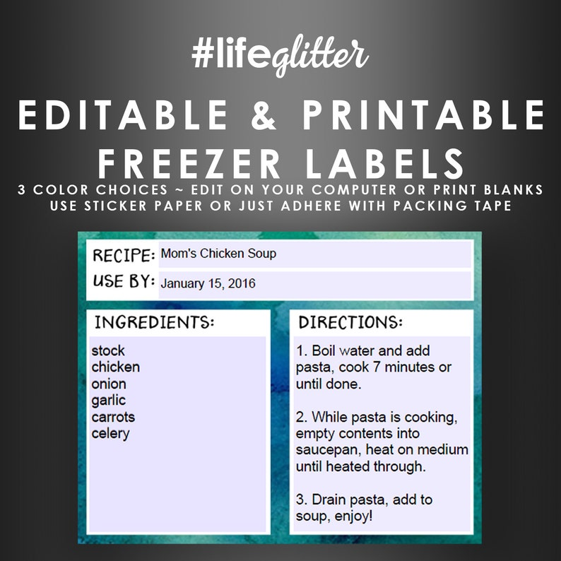 photograph relating to Printable Freezer Labels named Freezer Bag Labels - Editable Printable Stickers - Month to month Planner Recipe Playing cards - Funds Planner - Immediate Electronic Down load