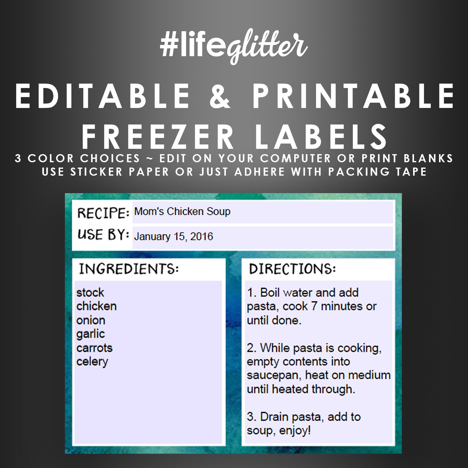 Freezer Bag Labels Editable Printable Stickers Monthly