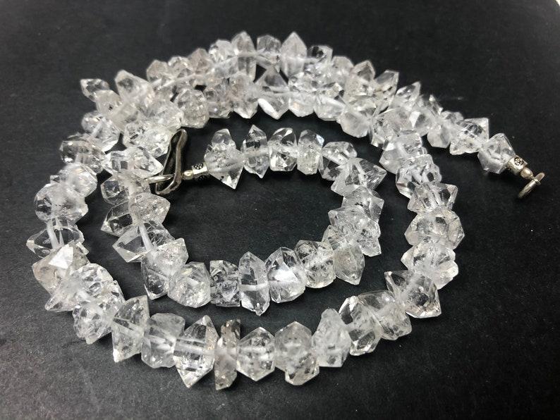 16\u201d 11-13 MM Double Terminated Herkimer Diamond Quartz Beads Pakistan HE1515