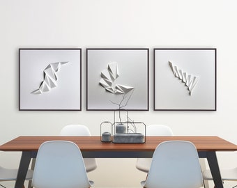 SET of 3 WALL SCULPTURES Large Abstract Wall Art Living room Home Office Origami Decor Object Art White Relief Gift Architect Pleat134-w