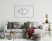 Living room art Wall Hanging - Home Office - Abstract Mini Wall Sculpture Decor Object - White Paper Relief - Modern-by Kubo Novak-Icosa222