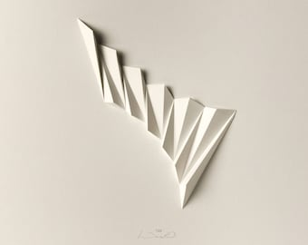 Concrete Art White Paper Relief - Pleat1 Geometric Modern Minimal Light Shadow Abstract Wall Decor