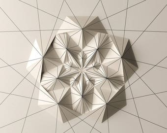 Geometric Wall Decoration - Art Relief - Folded Paper Crystal Mosaic - Modern Geometric Abstract Sculpture - By Kubo Novak -Draw 6EC5