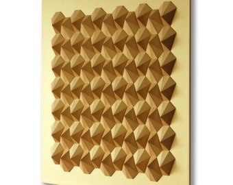 Golden Wall Sculpture Interlocking Paper