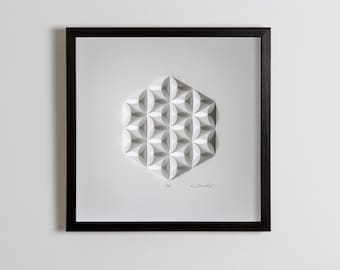First Wedding Anniversary Living room art Wall Art Home Office Wall Sculpture Geometric Modernist Minimal Origami White Abstract Decoration