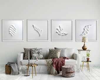 SET of 4 WALL SCULPTURES Large Abstract Wall Art Living room Home Office Origami Decor Object Art White Relief Gift Architect Pleat1234w